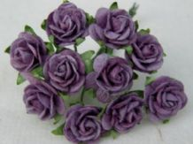 1.5cm DARK LILAC Mulberry Paper Roses